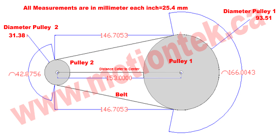 Calculate timing pulley belt length base on diameter and